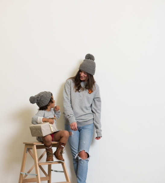 Twinning Mum & son 100% Alpaca Cable Knit Grey Beanie Pom Pom Hat by Ted & Bessie