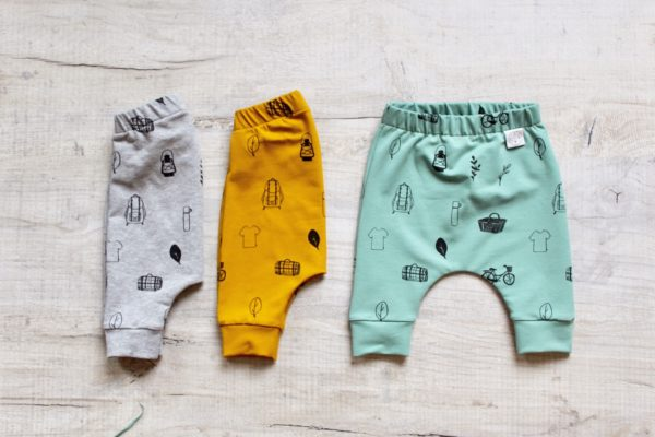 Organic cotton baby pants in grey, mustard and mint at Nurture Collective ethical baby wear by Little Drop