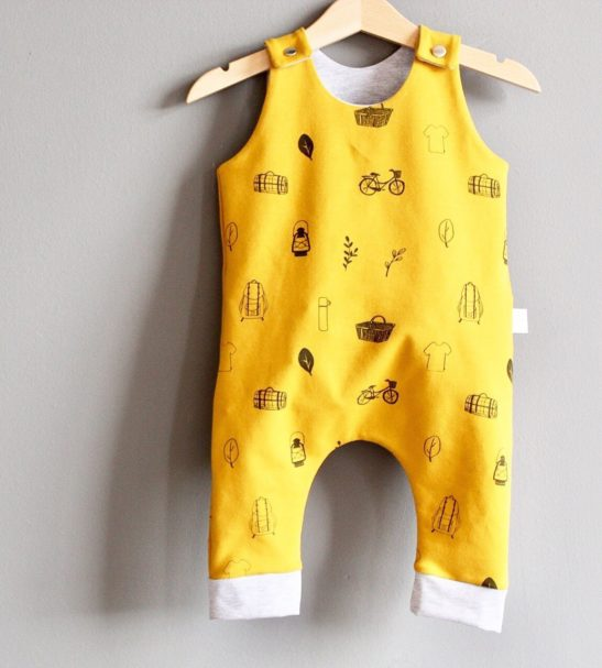 Little Drop Romper in Mustard at Nurture Collective Ethical Baby Clothing