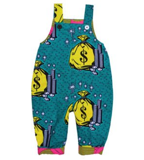 Million Dollar Baby African reversible print dungarees
