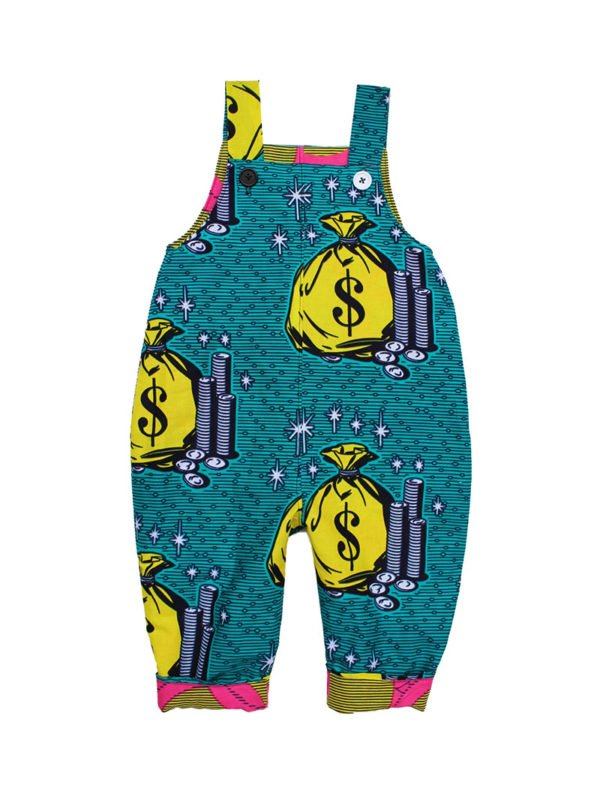 Million Dollar Baby African reversible print dungarees by Amamama at Nurture Collective Ethical Baby