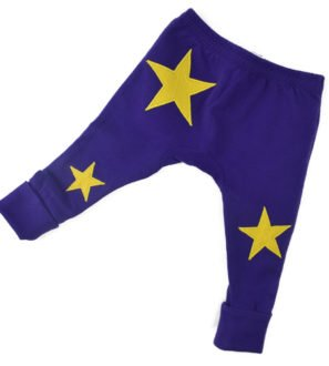 Purple and yellow star organic leggings by Nurture Collective