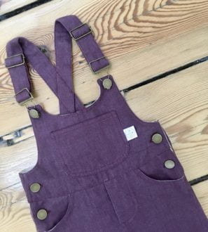 Purple kids Dungarees in organic cotton at Nurture Collective Ethical Baby Clothing