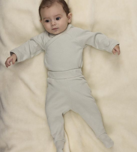 Baby wearing Blue Stripes Kimono with matching Footed trousers Huggee Purewear Nurture Collective Ethical Baby Clothing
