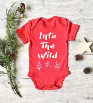 Baby's first Christmas festive bodysuit in red at Nurture Collective