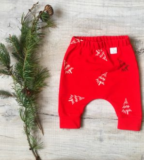 Festive Frosty Fir Pants Organic Cotton at Nurture Collective Ethical Baby Clothing