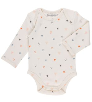 Mix Triangles Organic Baby Grow Long Sleeves by Huggee Purewear at Nurture Collective Ethical Baby Clothing