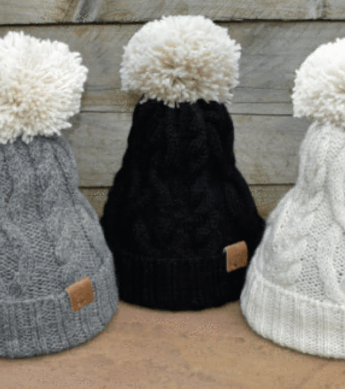Ted & Bessie Alpaca natural wool beanies in three available different colours - Nurture Collective