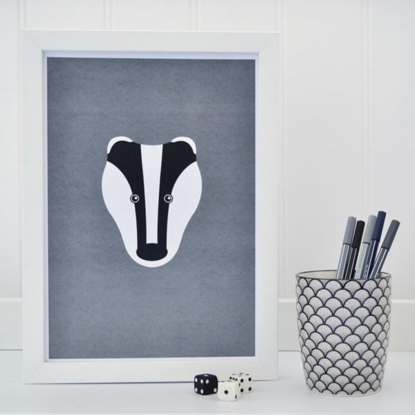 Badger on Grey Picture Print Tommy & Lottie at Nurture Collective Ethical Baby Clothing