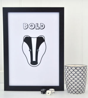 Bold Badger Picture Print Tommy & Lottie at Nurture Collective Ethical Baby Clothing