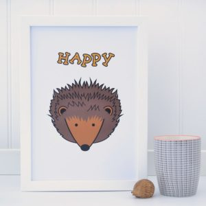 Happy Hedgehog Picture Print Tommy & Lottie at Nurture Collective Ethical Baby Clothing