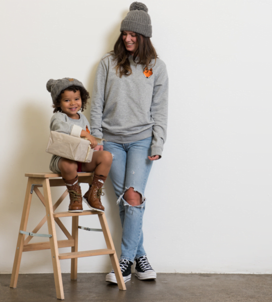 Fox Sweatshirts in child & Adult sizes twining by Tommy & Lottie at Nurture Ethical Baby Clothing