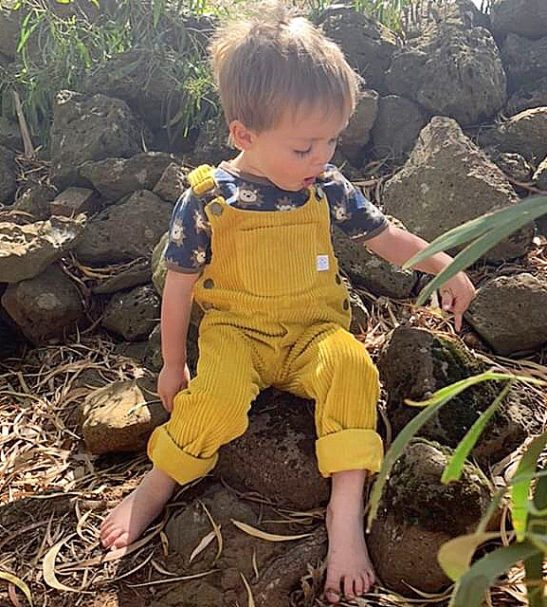 Mustard Corduroy Dungarees by Little Drop in the Ocean at Nurture Collective Ethical Baby Clothing