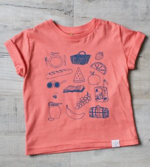 Picnic coral tee by Little drop at Nurture Collective