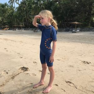 Blue all in one Swimsuit by Noma Swims at Nurture Collective Ethical kidswear.