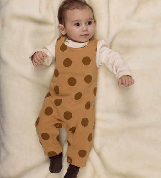 Brown Polka Dot Dungarees by Huggee Purewear at Nurture Collective
