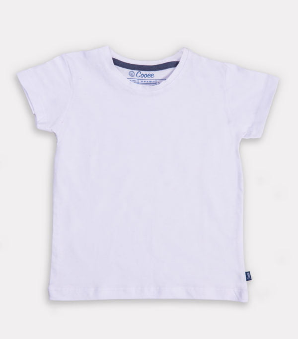 Just White Unisex T-shirt by Cooee Kids at Nurture Collective Ethical Baby Clothing