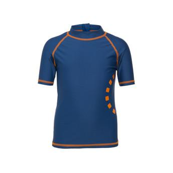 Blue & Orange Short Sleeved Rash Swim Top by Noma Swimwear at Nurture Collective Ethical Baby Clothing