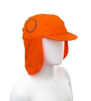 Girl wearing Orange & Blue Legionnaires Unisex Sun Hat by Noma Swimwear at Nurture Collective Ethical Baby Clothing