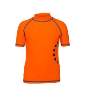 Orange & Blue Short Sleeved Rash Swimwear Top by Noma Swimwear at Nurture Collective Ethical Baby Clothing