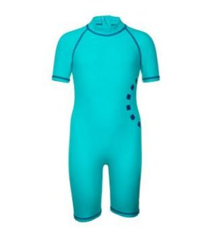 Children's Turquoise Short Sleeved All in One Unisex Swimwear by Noma Swimwear at Nurture Collective Ethical Baby Clothing