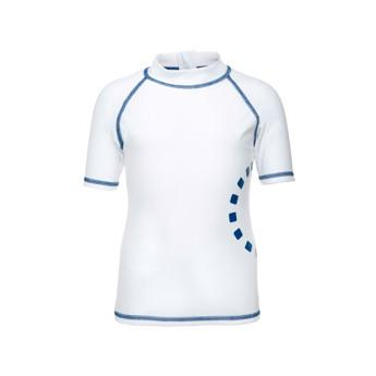 White & Blue Short Sleeved Rash Swim Top by Noma Swimwear at Nurture Collective Ethical Baby Clothing