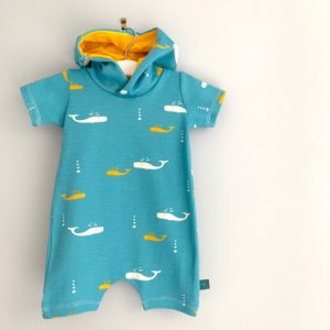 Pull on Whale Harem Romper by Maebelle & Bo at Nurture Collective Ethical Baby Clothing