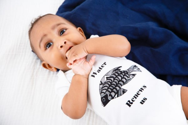 The Water Renews Us Body Suit by Hand of Gaia at Nurture Collective Ethical Baby Clothing