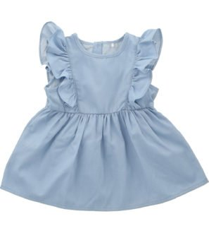 Frill Dress Chambray by Hunter Boo at Nurture Collective Ethical Baby Clothing