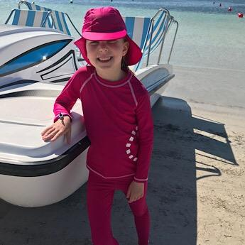Magenta Swimming Leggings,Long Sleeved Rash Top and Legionnaires Hat by Noma Swimwear at Nurture Collective Ethical Baby Clothing
