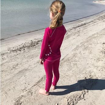 Magenta Swimming Leggings and Long Sleeved Rash Top by Noma Swimwear at Nurture Collective Ethical Baby Clothing
