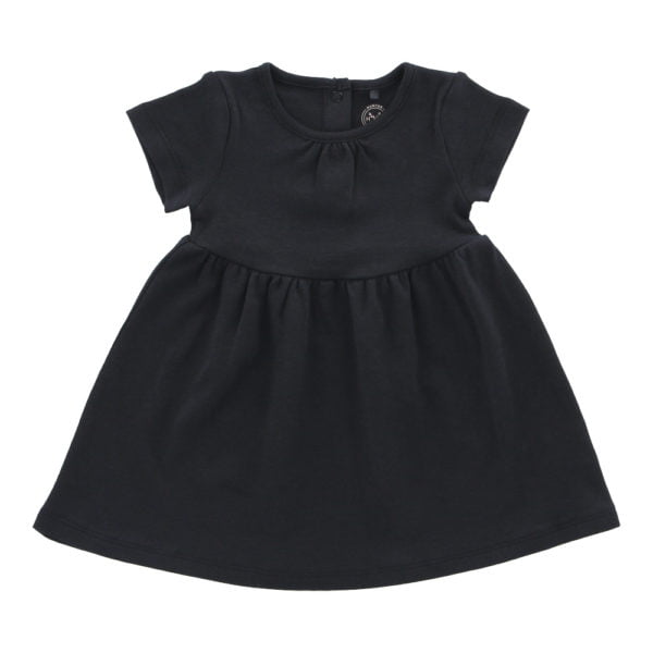 Hunter & Boo T-Shirt Dress Soft Black Blue at Nurture Collective Ethical Baby