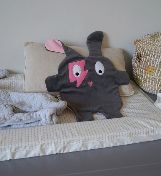 Grey+Pink Flash Doudoods Comforter at Nurture Collective Ethical Baby