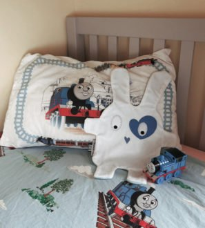 White+Blue Heart Doudoods Comforter at Nurture Collective Ethical Baby