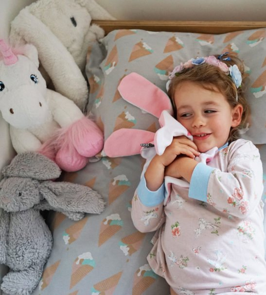 White+Pink Heart Doudoods Comforter at Nurture Collective Ethical Baby