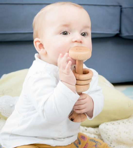 Baby Wooden Rattle Eco-Friendly Toys by Love Heart Wood at Nurture Collective