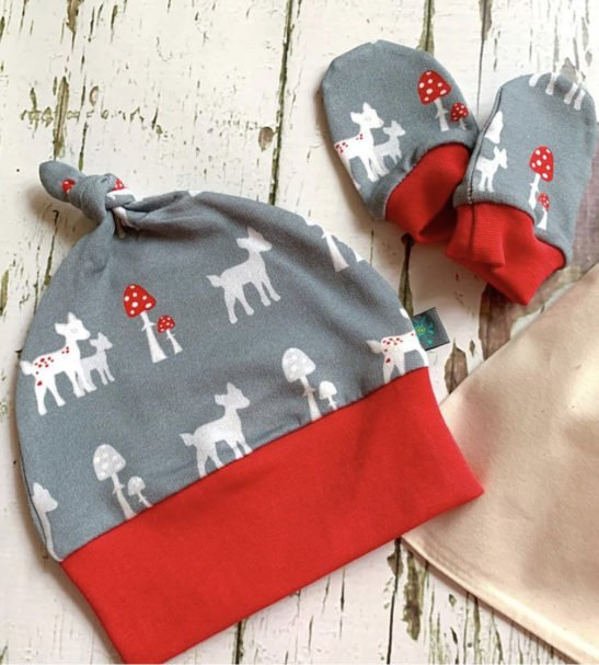 Organic Grey Bambi Knotted Hat & Mitts Newborn Gift Set by Maebelle & Bo at Nurture Collective