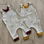 Dotty Pant Romper in Mustard & Burgundy Finish by Little Drop at Nurture Collective