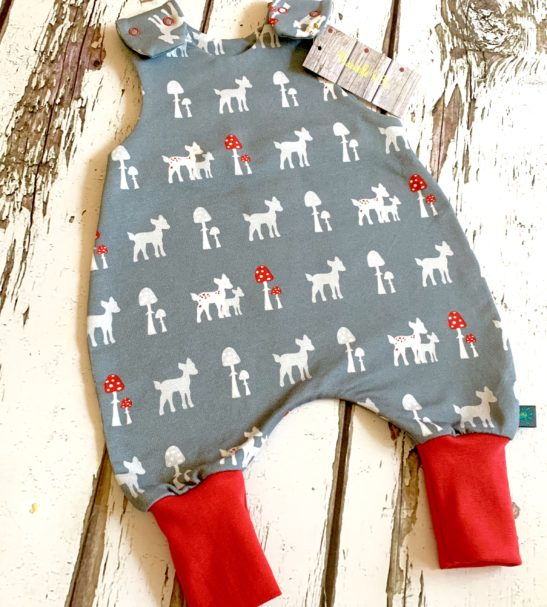 Organic Grey Bambi Romper with Red Cuffs by Maebelle & Bo at Nurture Collective