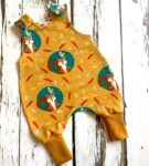 Organic Squirrel Romper with Mustard Cuffs by Maebelle & Bo at Nurture Collective