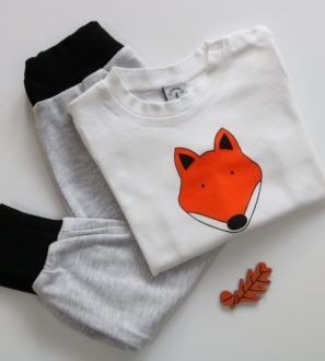 Fox T-Shirt & Black Harems Gift Set by Tommy & Lottie at Nurture Collective
