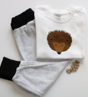 Hedgehog T-Shirt & Black Harems Gift Set by Tommy & Lottie at Nurture Collective