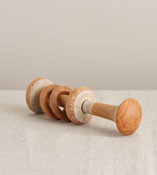 Wooden Baby Teething Rattle by Loveheart Wood at Nurture Collective