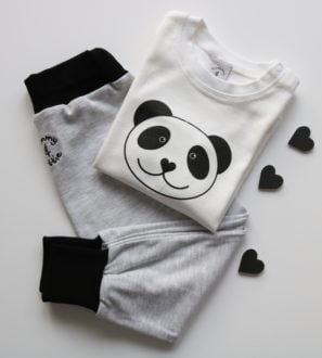 Panda T-Shirt & Black Harems Gift Set by Tommy & Lottie at Nurture Collective
