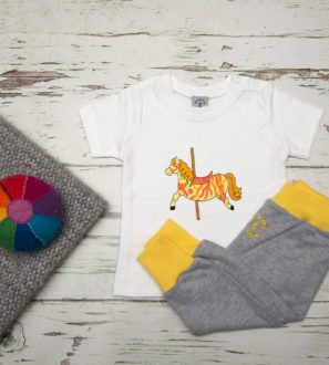Carousel Horse T-Shirt & Yellow Harems Gift Set by Tommy & Lottie at Nurture Collective