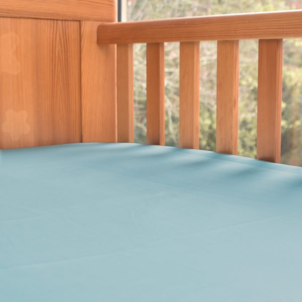 Fitted Baby Cot Bed Sheet in Aquamarine by Little Leaf Organic at Nurture Collective