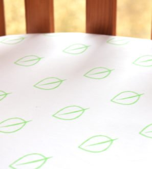 Fitted Baby Cot Bed Sheet in Leaf Print by Little Leaf Organic at Nurture Collective