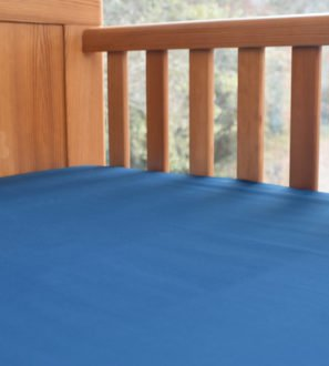 Fitted Baby Cot Bed Sheet in Ocean Blue by Little Leaf Organic at Nurture Collective