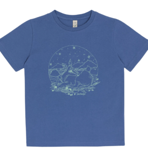 Fawn T-shirt in faded blue by Jackalo at Nurture Collective