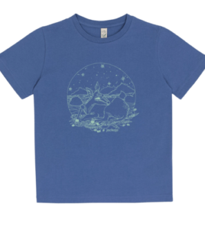 Orcas Fawn T-shirt in Blue by Jackalo at Nurture Collective